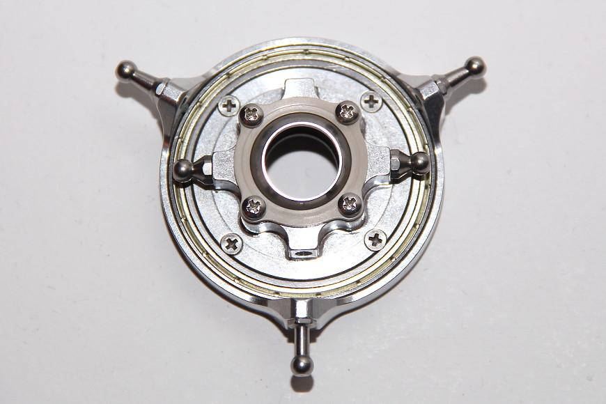 Henseleit TDF - Rotorwelleneinheit: Taumelscheibe mit montierten Kugelbolzen (unten: der spezielle Nick-Kugelkopf)
